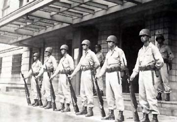 11th Airborne guarding the General HQ in Yokohama